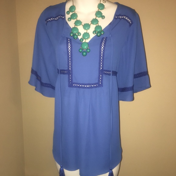 Zac & Rachel Tops - NWT Blue Zac And Rachel Summer Blouse Sz Small
